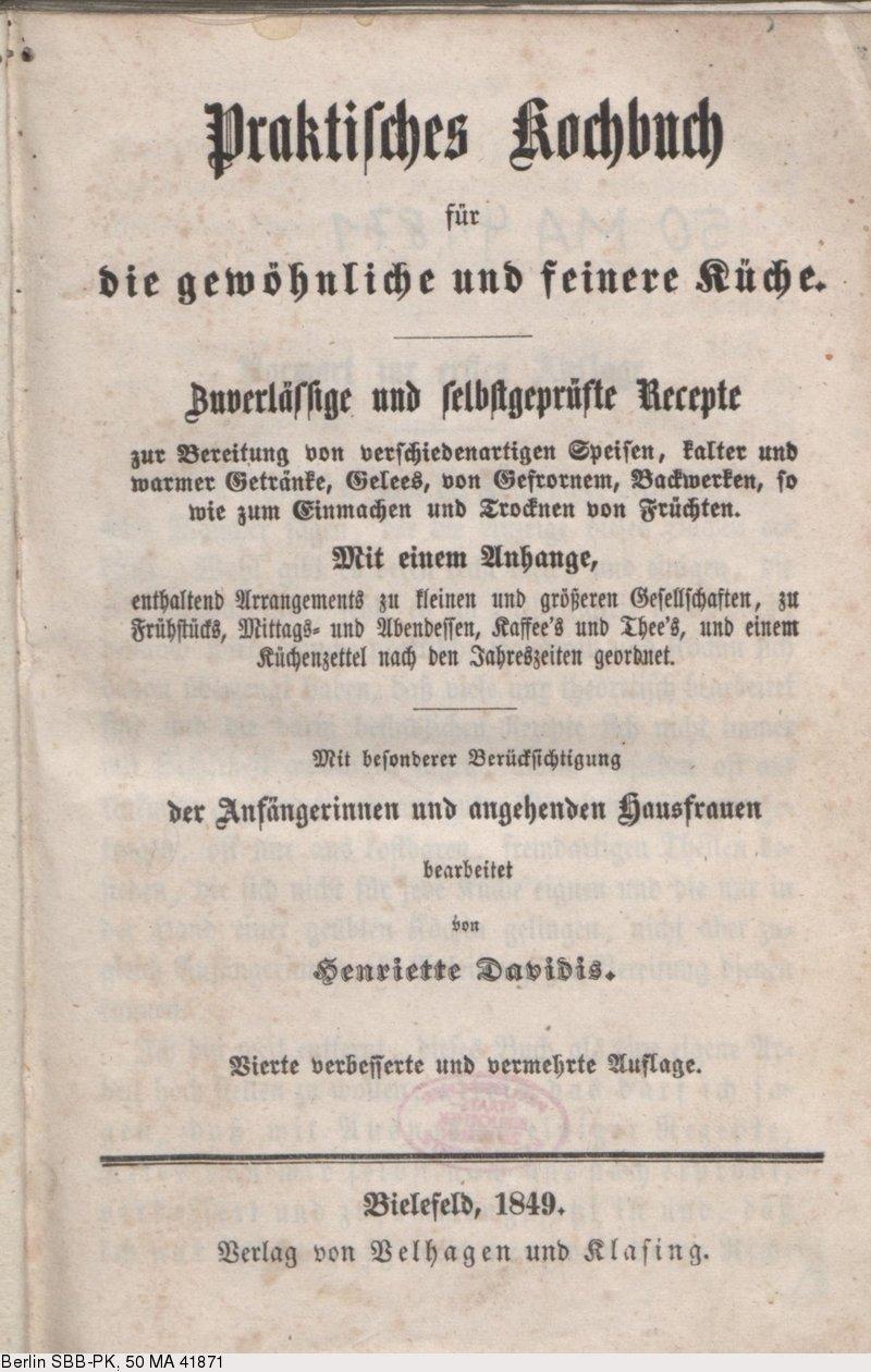 Deutsches Textarchiv – Davidis, Henriette: Praktisches ...