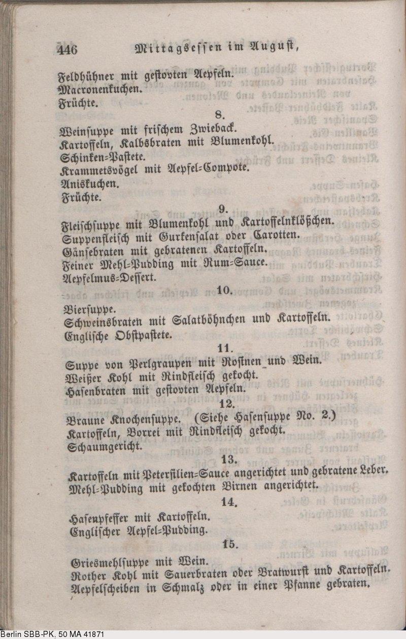 Praktisches Kochbuch Für Die Gewöhnliche Und Feinere Küche   Deutsches Textarchiv Davidis Henriette Praktisches Kochbuch Fur