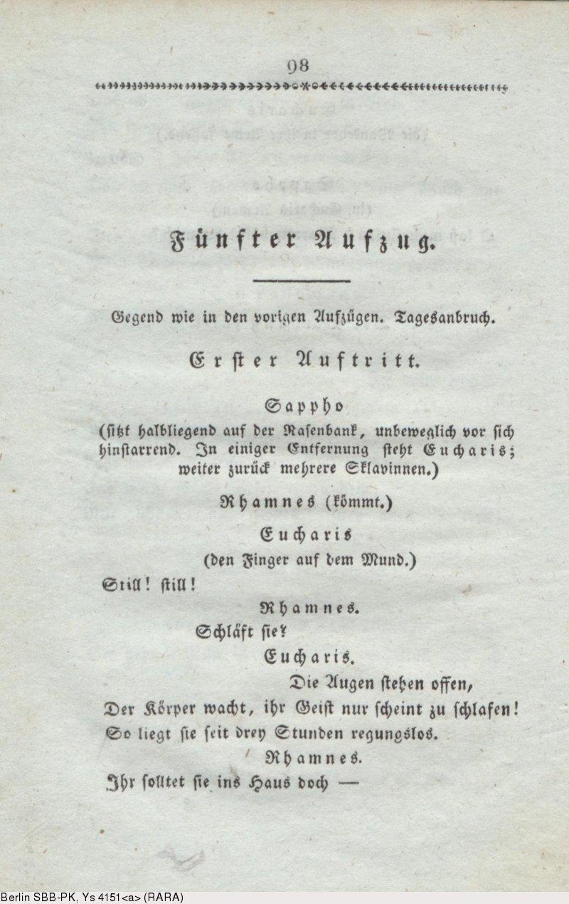 Deutsches Textarchiv Grillparzer Franz Sappho Trauerspiel In