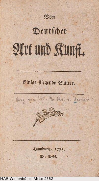 Johann Gottfried Herder von deutscher art und kunst