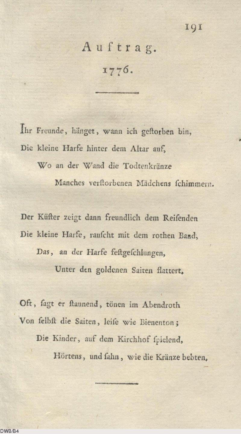 Deutsches Textarchiv Hölty Ludwig Christoph Heinrich