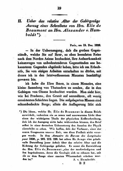 Humboldt, Alexander von: [Anmerkung zu] Ueber das relative Alter der Gebirgszüge. Auszug eines Schreibens von Hrn. v. Elie de Beaumont an Hrn. Alexander von Humboldt. In: Annalen der Physik und Chemie, Bd. 18 (1830), S. 19.