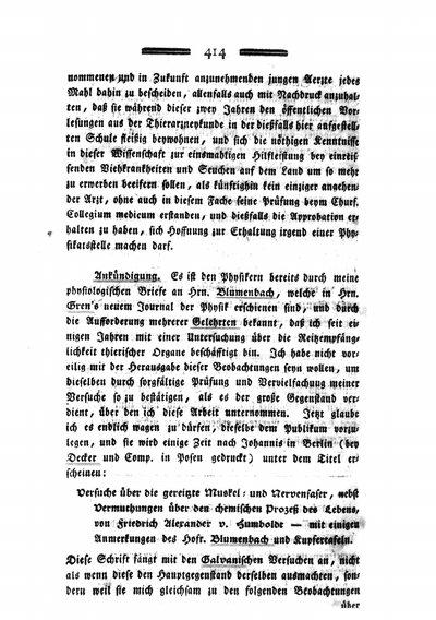 Humboldt, Alexander von: Ankündigung [betr. Gereizte Muskel- und Nervenfaser]. In: Medicinisch-chirurgische Zeitung, Bd. 2 (1796), S. 414-416.