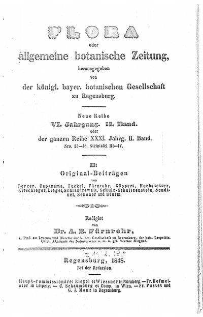 Humboldt, Alexander von: [Befürwortung der geplanten naturwissenschaftlichen Forschungsreise von Carl Ferdinand Appuhn und Leopold Martin nach Südamerika]. In: Flora oder allgemeine botanische Zeitung, Bd. 2 (1848), S. 607.