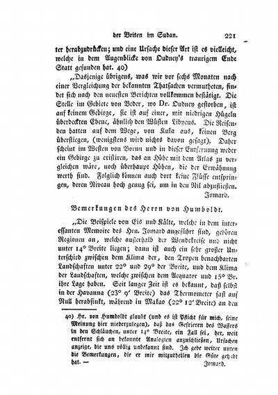 Humboldt, Alexander von: Bemerkungen des Herrn von Humboldt. [Zu Berghaus, H.: Nachricht von den Reisen und Entdeckungen der Briten Oudney, Denham und Clapperton im Sudan.]. In: Hertha, Bd. 3 (1825), S. 221-225.
