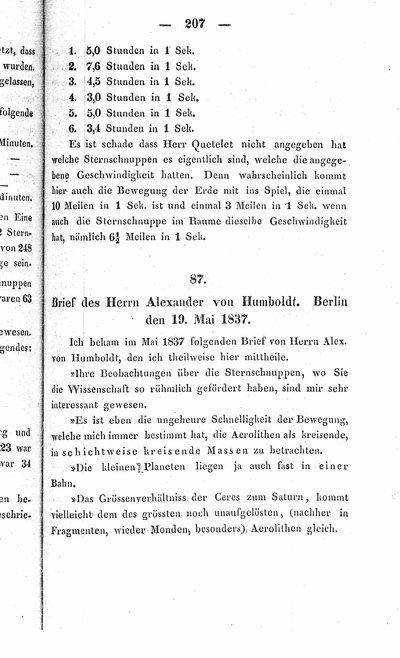 Humboldt, Alexander von: Briefe des Herrn Alexander von Humboldt, Berlin den 19. Mai 1837 sowie Potsdam den 22. October 1837. In: Benzenberg, Johann Friedrich: Die Sternschnuppen. Mit 9 Steintafeln. Hamburg, 1839, S. 207-209, 209-210.