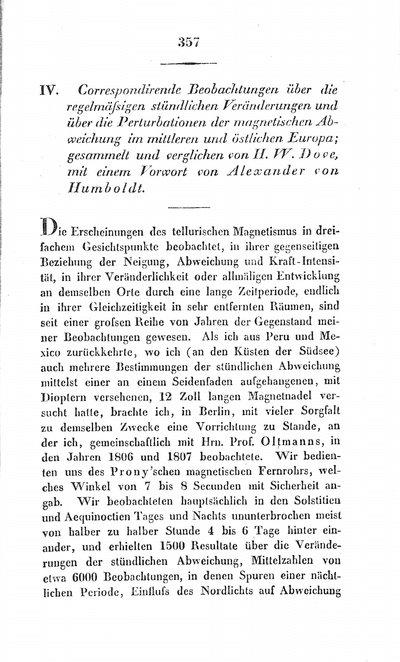 Humboldt, Alexander von: Correspondirende Beobachtungen über die regelmässigen stündlichen Veränderungen und über die Perturbationen der magnetischen Abweichung im mittleren und östlichen Europa; gesammelt und verglichen von H. W. Dove, mit einem Vorwort von Alexander von Humboldt. In: Annalen der Physik und Chemie, Bd. 19, (1830), S. 357-361.