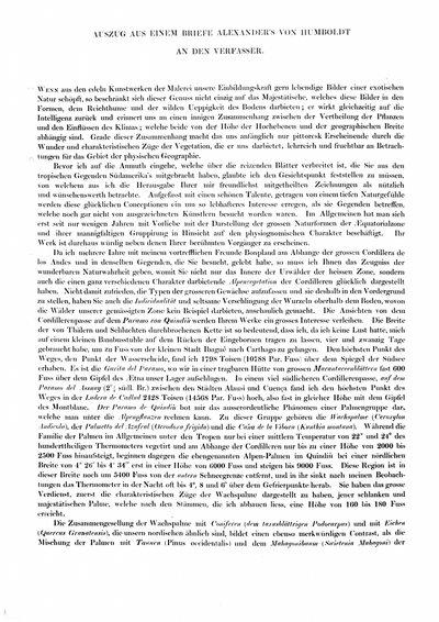 Humboldt, Alexander von: Auszug aus einem Briefe Alexander's von Humboldt an den Verfasser. In: Berg, Albert: Physiognomie der tropischen Vegetation Süd-Americas. Düsseldorf, 1854, S. [i]-ii.