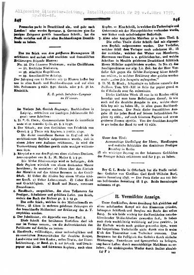 Humboldt, Alexander von: Vermischte Anzeigen [Anzeige von ein paar für den Bergbau wichtigen Maschinen, um das Lichtbrennen und Athmen in irrespirablen Luftarten zu unterhalten]. In: Allgemeine Literatur-Zeitung, Nr. 29 (1797), Sp. 246-248.