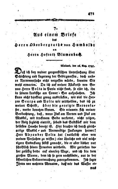 Humboldt, Alexander von: Aus einem Briefe des Herrn Oberbergraths von Humboldt an Herrn Hofrath Blumenbach. In: Neues Journal der Physik, Bd. 2, H. 4 (1795), S. 471-473.