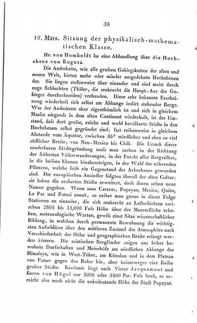 Humboldt, Alexander von: [Über die Hochebene von Bogota]. In: Bericht über die zur Bekanntmachung geeigneten Verhandlungen der Königl. Preuss. Akademie der Wissenschaften zu Berlin. Berlin, 1838, S. 38-43.