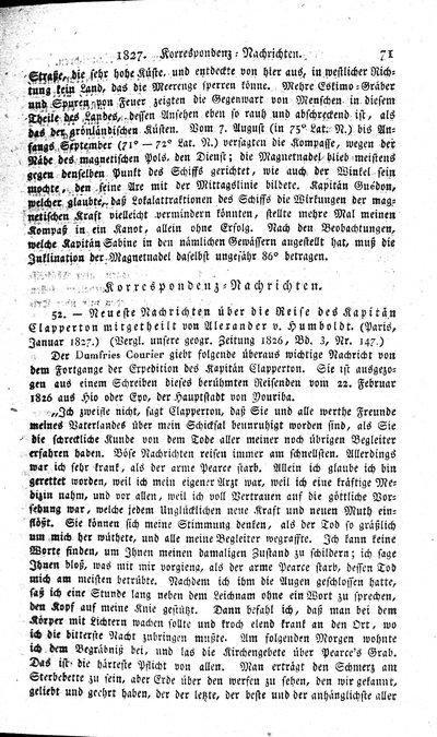 Humboldt, Alexander von: Neueste Nachrichten über die Reise des Kapitän Clapperton[,] mitgetheilt von Alexander v. Humboldt. (Paris, Januar 1827.) In: Hertha. Bd. 9, H. 2 (1827), S. 71-72.
