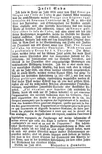 Humboldt, Alexander von: Insel Cuba. In: Berlinische Nachrichten von Staats- und gelehrten Sachen, Nr. 172 (1856), S. 4.