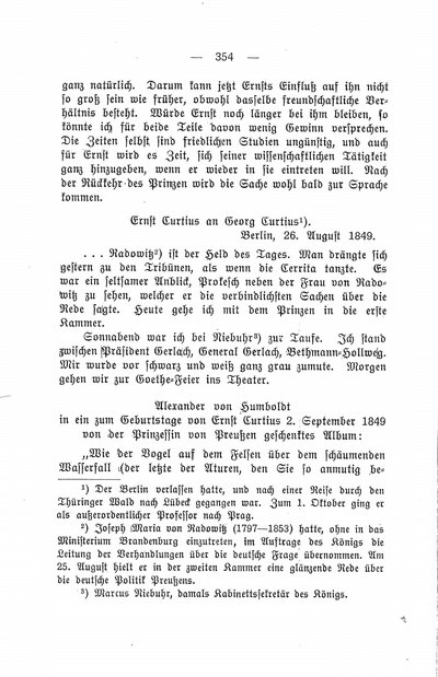 Humboldt, Alexander von: [Eintragung in ein von der Prinzessin von Preußen geschenktes Album für Ernst Curtius]. In: Ernst Curtius. Ein Lebensbild in Briefen. Bd. 1, Berlin: 1913, S. 354.