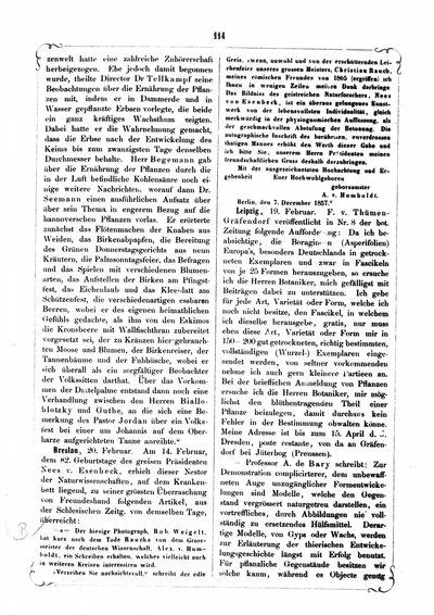 Humboldt, Alexander von: [Dank an Robert Weigelt für Bildnis Nees von Esenbeck]. In: Bonplandia, Nr. 4/5 (1858), S. 114.