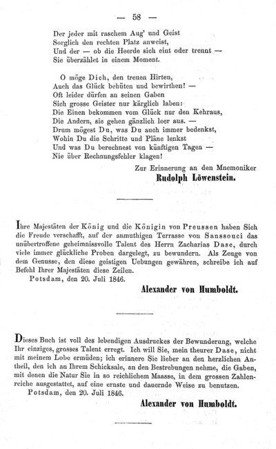 Humboldt, Alexander von: [Eintrag ins Album von Zacharias Dase. Potsdam, 20. Juli 1846]. In: Dase, Zacharias: Aufschlüsse und Proben seiner Leistungen als Rechenkünstler. Berlin, 1856, S. 58.