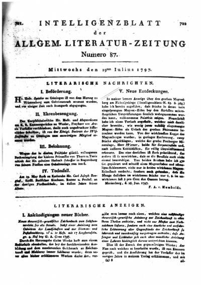 Humboldt, Alexander von: Neue Entdeckungen. In: Allgemeine Literatur-Zeitung. Intelligenzblatt. Bd. 3 (1797) Nr. 87, Sp. 722.