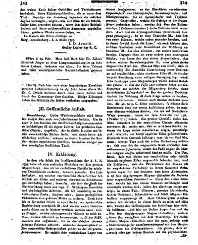 Humboldt, Alexander von: Erklärung [Beantwortung von Anfragen betreffend den von Alexander von Humboldt entdeckten Magnetberg]. In: Allgemeine Literatur-Zeitung. Intelligenzblatt. Nr. 38 (1797) Sp. 323-326.