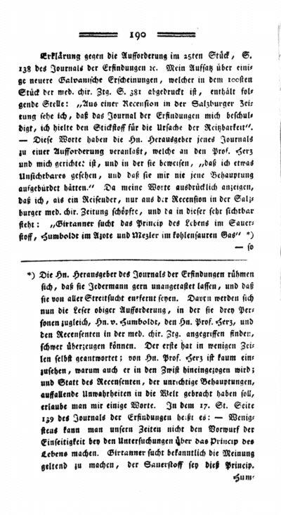 Humboldt, Alexander von: Erklärung gegen die Aufforderung im 25ten Stück, S. 138 des Journals der Erfindungen etc. In: Medicinisch-chirurgische Zeitung. Bd. 1 (1798) S. 190-192.