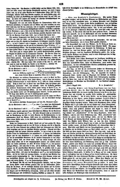 Humboldt, Alexander von: [Erwiderung auf Carl Ritters Ansprache bei dem Fest zum 40. Jahrestag der Rückkehr aus Amerika]. In: Magazin für die Literatur des Auslandes, Bd. 26, Nr. 103 (1844), S. 412.