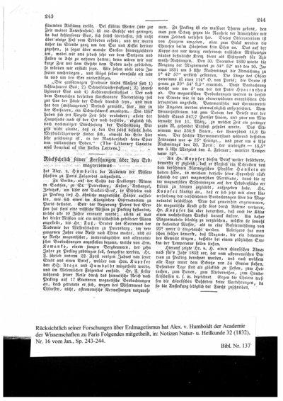 Humboldt, Alexander von: Rücksichtlich seiner Forschungen über Erdmagetismus hat Alex. v. Humboldt der Academie der Wissenschaften zu Paris Folgendes mitgetheilt. In: Notizen aus dem Gebiete der Natur- und Heilkunde. Bd. 32, Nr. 16 (1832), Sp. 243-244.