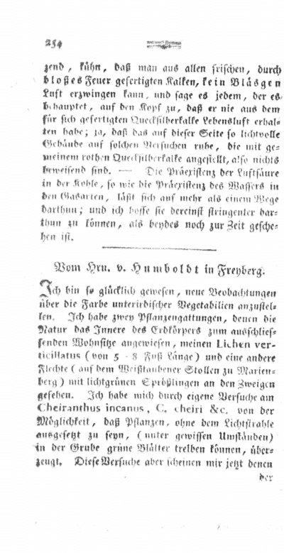 Humboldt, Alexander von: [Neue Beobachtungen über die grüne Farbe unterirdischer Vegetabilien]. In: Chemische Annalen für die Freunde der Naturlehre, Arzneygelahrtheit, Haushaltungskunde und Manufacturen. Bd. 1 (1792) St. 3, S. 254-255.