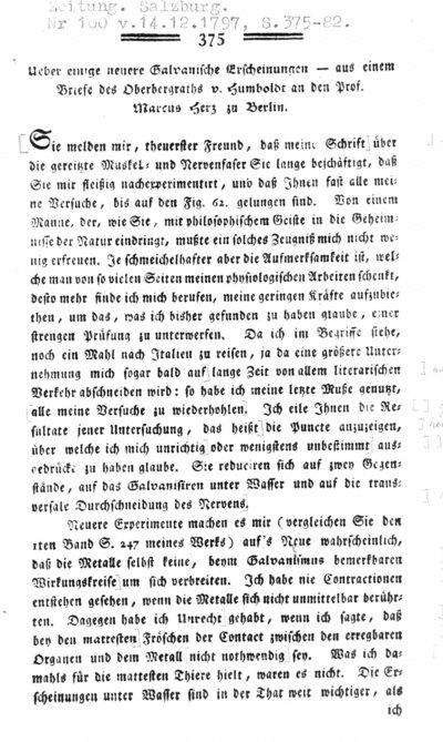 Humboldt, Alexander von: Ueber einige neuere Galvanische Erscheinungen. In: Medicinisch-chirurgische Zeitung. Nr. 100 (1797) S. 375-382.