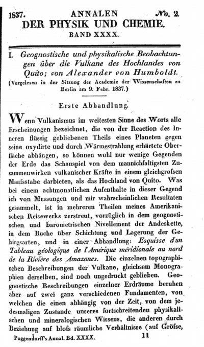 Humboldt, Alexander von: Geognostische und physikalische Beobachtungen über die Vulkane des Hochlandes von Quito. Erste Abhandlung. In: Annalen der Physik und Chemie, Bd. 40 (1837), S. 161-193.
