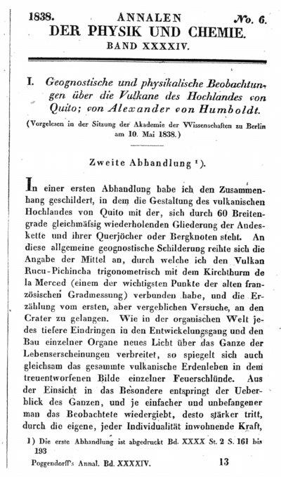 Humboldt, Alexander von: Geognostische und physikalische Beobachtungen über die Vulkane des Hochlandes von Quito. Zweite Abhandlung. In: Annalen der Physik und Chemie, Bd. 44 (1838), S. 193-219.