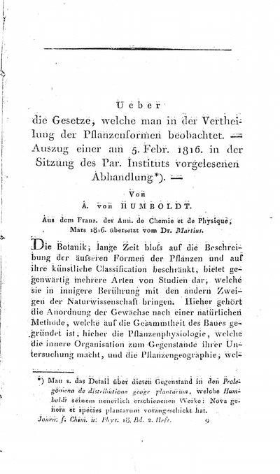 Humboldt, Alexander von: Ueber die Gesetze, welche man in der Verteilung der Pflanzenformen beobachtet. In: Journal für Chemie und Physik, Bd. 18, H. 2 (1816), S. 129-145.