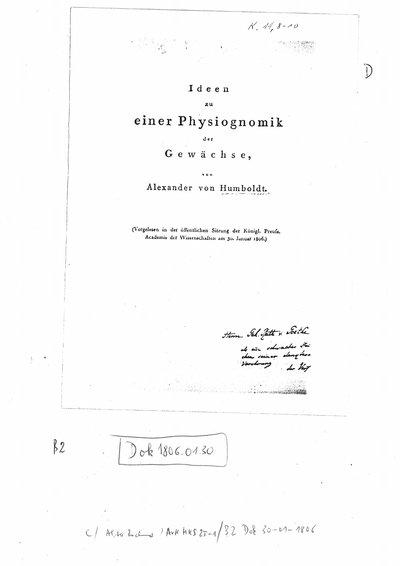 Humboldt, Alexander von: Ideen zu einer Physiognomik der Gewächse. [Tübingen], [1806].