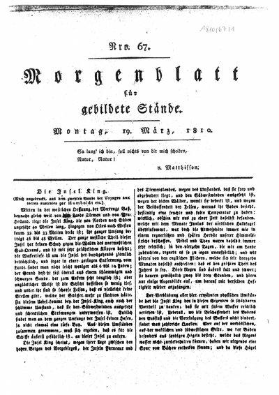 Humboldt, Alexander von: Die Insel King. In: Morgenblatt für gebildete Stände, Nr. 67 (1810), S. 265-267, 270-272.