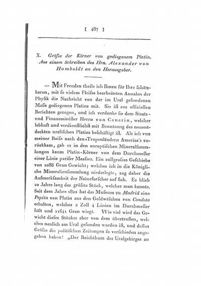 Humboldt, Alexander von: Grösse der Körner von gediegenem Platin. In: Annalen der Physik und Chemie, Bd. 10 (1827), S. 487-490.