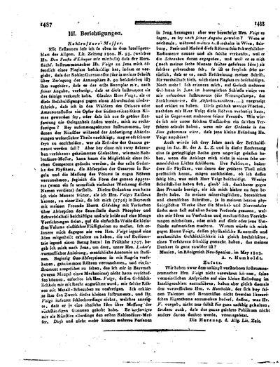 Humboldt, Alexander von: Kohlensäure-Messer. In: Allgemeine Literatur-Zeitung. Intelligenzblatt, Nr. 181 (1803) Sp. 1487-1488.