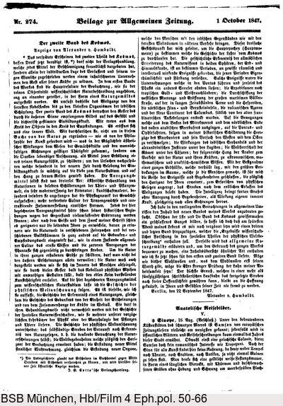 Humboldt, Alexander von: Der zweite Band des Kosmos. Anzeige von Alexander v. Humboldt. In: Allgemeine Zeitung. Nr. 274, Beilage vom 1[.] October 1847 (1848), S. 2185.