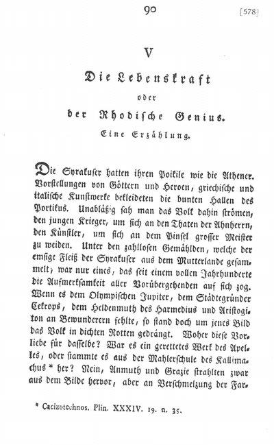 Humboldt, Alexander von: Die Lebenskraft oder der Rhodische Genius. Eine Erzählung. In: Die Horen. Eine Monatsschrift. Bd. 1. Tübingen, 1795, S. 90-96.