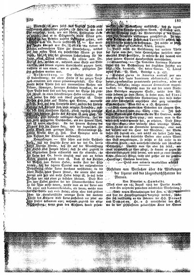 Humboldt, Alexander von: Resultate von Versuchen über die Wirkungen der Ligatur und des Längendurchschnittes der Nerven. In: Notizen aus dem Gebiete der Natur- und Heilkunde, Bd. 6. (1824), Sp. 180-182.