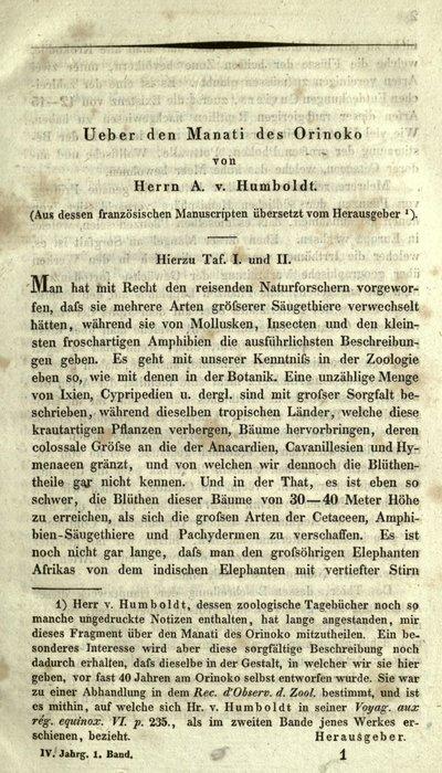 Humboldt, Alexander von: Ueber den Manati des Orinoko. In: Archiv für Naturgeschichte, 4 Jg., Bd. 1 (1838), S. 1-18, [397], [399].