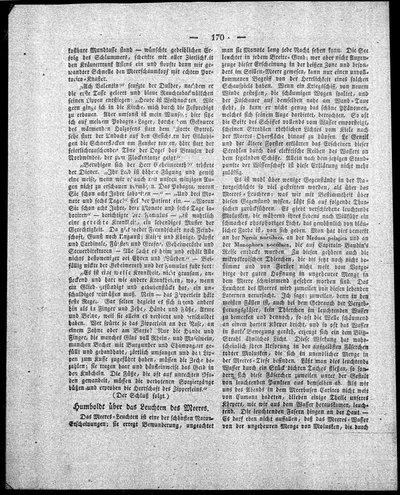 [Humboldt, Alexander von]: Humboldt über das Leuchten des Meeres. In: Der Gesellschafter Nr. 13, Bl. 33 vom 27. Februar, [Berlin], 1829, S. 170-171.