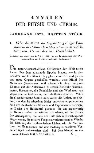 Humboldt, Alexander von: Ueber die Mittel, die Ergründung einiger Phänomene des tellurischen Magnetismus zu erleichtern. In: Annalen der Physik und Chemie, Bd. 15, St. 3, (1829), S. 319-336.
