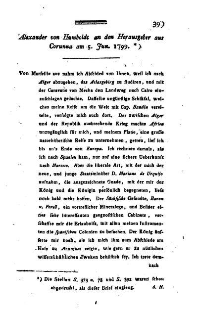 Humboldt, Alexander von: Alexander von Humboldt an den Herausgeber aus Corunna am 5. Jun[i] 1799. In: Jahrbücher der Berg- und Hüttenkunde, Bd. 4 (1799), S. 399-401.