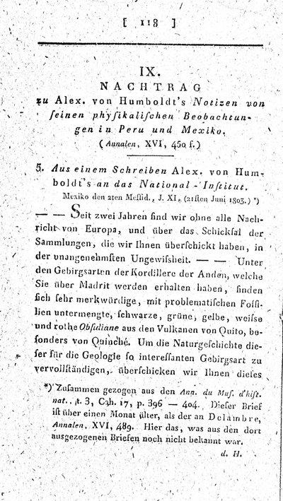 Humboldt, Alexander von: Nachtrag zu Alex. von Humboldts Notizen von seinen physikalischen Beobachtungen in Peru und Mexiko. In: Annalen der Physik, Bd. 18 (1804), S. 118-126.