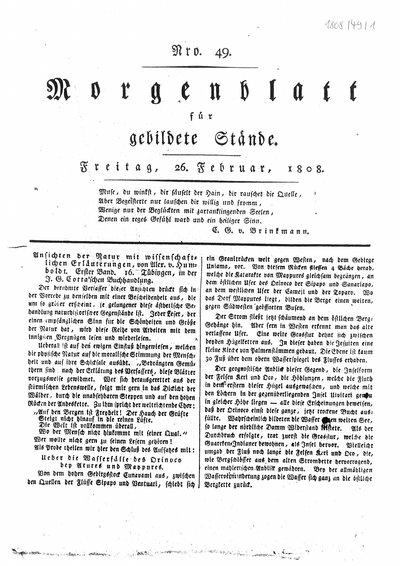 Humboldt, Alexander von: Ansichten der Natur mit wissenschaftlichen Erläuterungen. In: Morgenblatt für gebildete Stände, Nr. 49 (1808), S. 193-195.