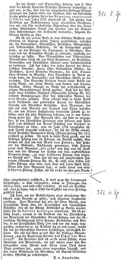 Humboldt, Alexander von: [Verteidigung des Prof. Karl Friedrich Neumann gegen einen ungerechten Angriff]. In: Allgemeine Preußische Staats-Zeitung, Nr. 129 (1830), S. 976.