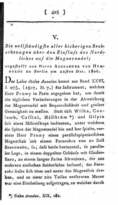 Humboldt, Alexander von: Die vollständigste aller bisherigen Beobachtungen über den Einfluss des Nordlichts auf die Magnetnadel. In: Annalen der Physik, Bd. 29, Viertes Stück (1808), S. 425-429.