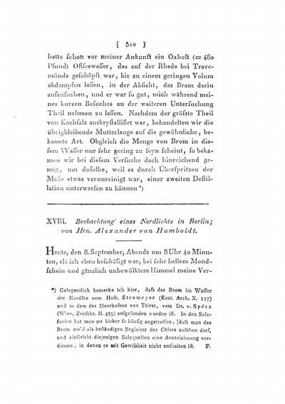 Humboldt, Alexander von: Beobachtungen eines Nordlichts in Berlin. In: Annalen der Physik und Chemie, Bd. 10 (1827), S. 510-512.