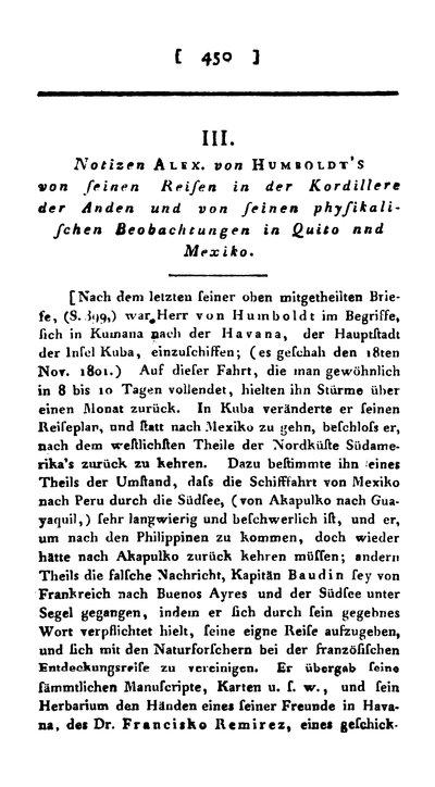 Humboldt, Alexander von: Notizen Alex. von Humboldt's von seinen Reisen in der Kordillere der Anden und von seinen physikalischen Beobachtungen in Quito und Mexico. In: Annalen der Physik, Bd. 16 (1804), S. 450-493.