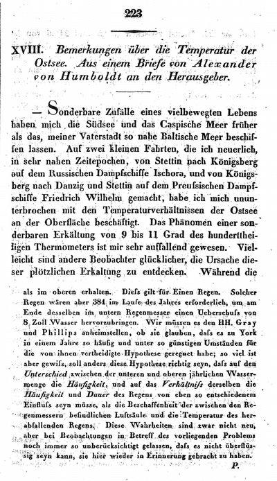 Humboldt, Alexander von: Bemerkungen über die Temperatur der Ostsee. Aus einem Briefe an den Herausgeber. In: Annalen der Physik und Chemie, Bd. 33, St. 3 (1834), S. 223-227.