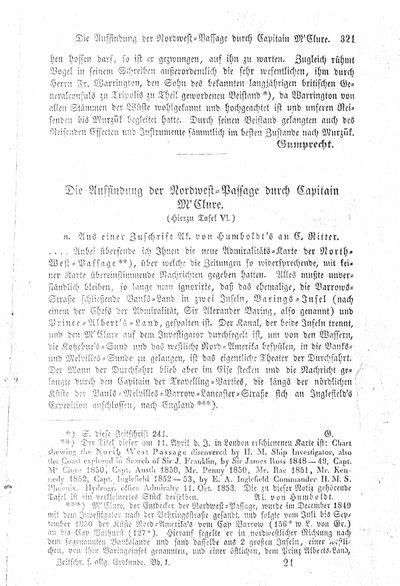 Humboldt, Alexander von: Die Auffindung der Nordwest-Passage durch Capitain M'Clure. In: Zeitschrift für allgemeine Erdkunde, Bd. 1 (1853), S. 321-322.
