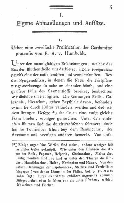 Humboldt, Alexander von: Ueber eine zweifache Prolification der Cardamie pratensis. In: Annalen der Botanick, Bd. 1 (1792), S. 5-7.